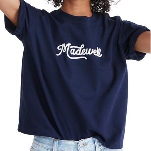 Madewell Embroidered Logo Easy Cropped Tee Medium